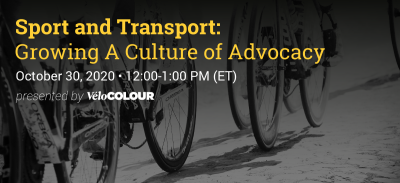 Black and white photo of people riding road bicycles. Only the wheels and feet of the cyclists are visible. Across the top, text reads: Sports and Transport: Growing a Culture of Advocacy. October 30, 2020 - 12:00 pm.