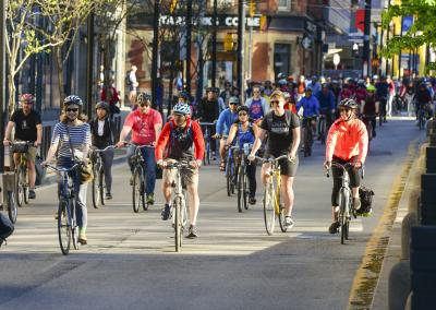 Riders participating in Bike to Work Day