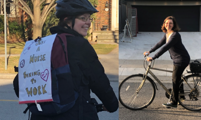 "Two images of the same women on a bike. One has a sign that says ""Just a nurse biking to work"""