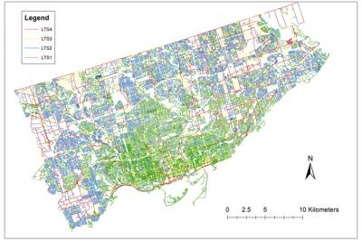 A map of Toronto's bikeway network with colours representing the route's level of stress