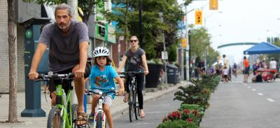 Open Streets Pop Up Bike Lane on Danforth