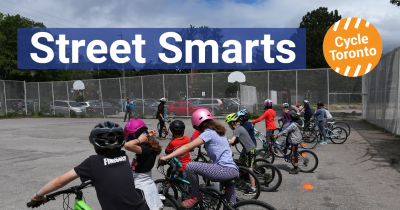 Street Smarts 2019 Fundraising Goal $25000. Donate Now. Child learning about bikes.