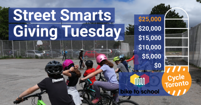 Street Smarts Giving Tuesday. Students participating in Bike Rodeo