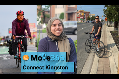"""Three people side by side. Text reads """"Move 365 Connect Kingston"""""""