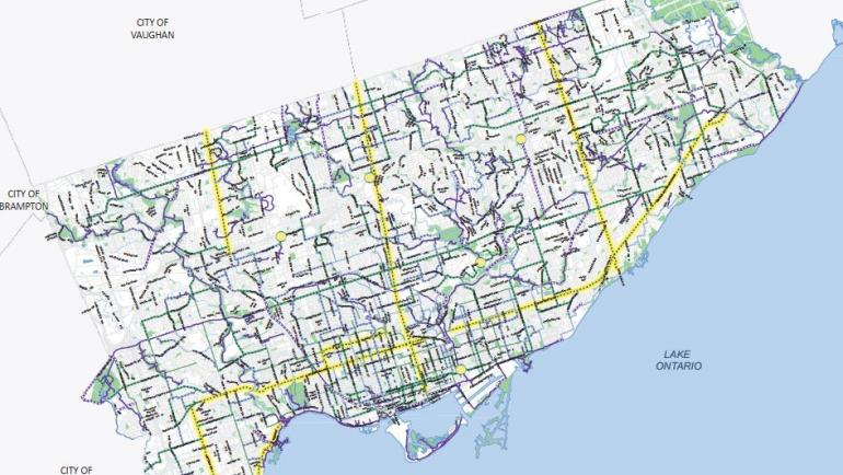 Map of the 10-Year Cycling Network Plan