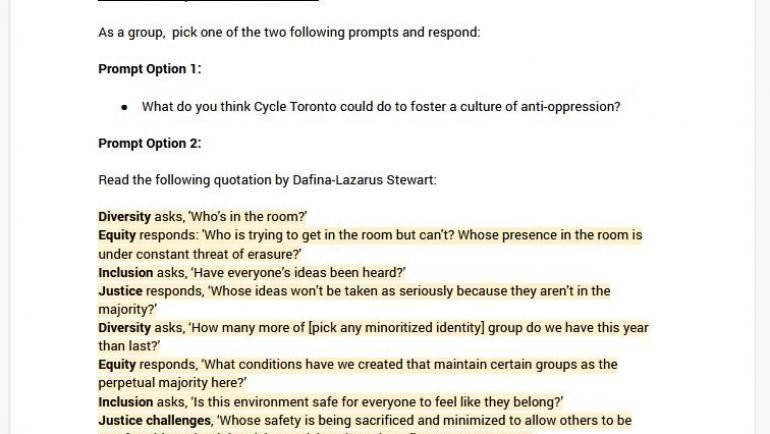 Screenshot of the breakout group discussion prompts Google Doc