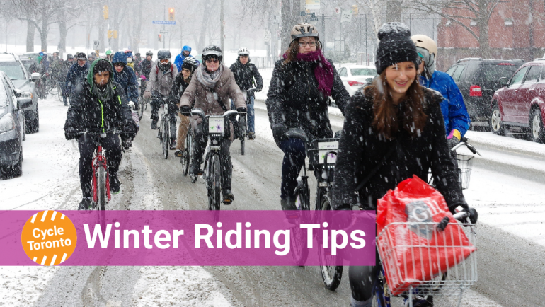 Winter Riding Tips. Cyclists happily ride in the snow
