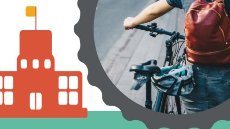 Thumbnail of the cover of the report, Engaging School Communities in Cycling Infrastructure Projects, shows a child walking a bicycle. An icon of a school is shown to the left.