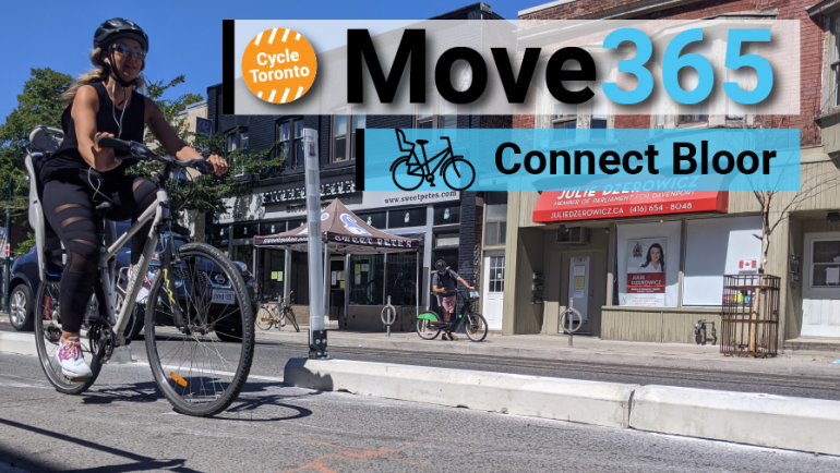 Move 365 Connect Bloor. A person rides a bike with a childseat.