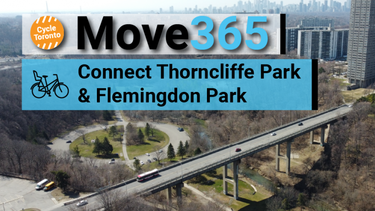 Move 365 Connect Thorncliffe Park and Flemingdon Park. A bridge heads into an urban area