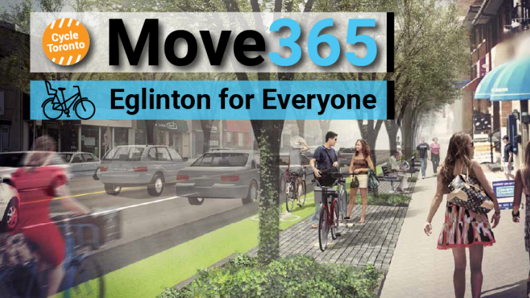 Move 365 Eglinton for Everyone. Rendering of street with bike lanes, trees, sidewalks, and driving lanes.