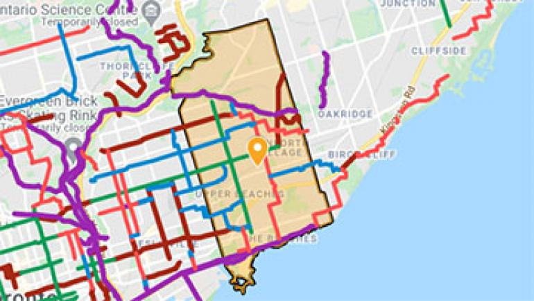 Map of Ward 19 with cycling routes shown