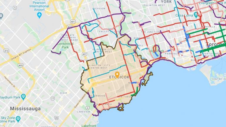 Map of Ward 3 with cycling routes shown