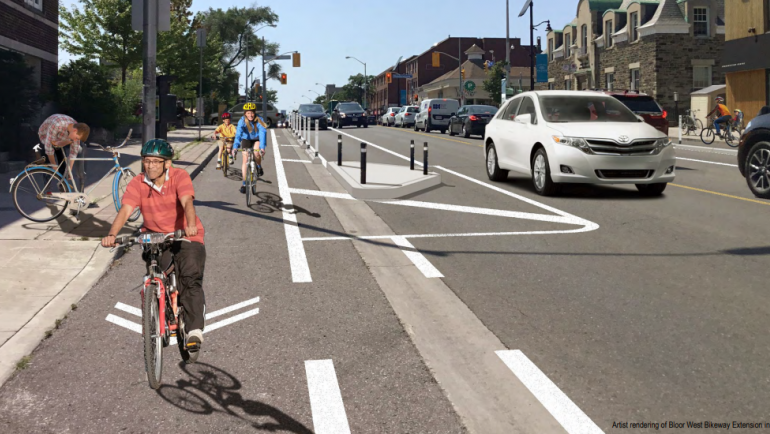 Bloor West rendering with protected bike lanes