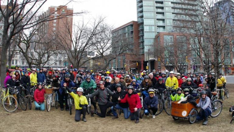 Cyclists gather todether for the Coldest Day of the Year ride