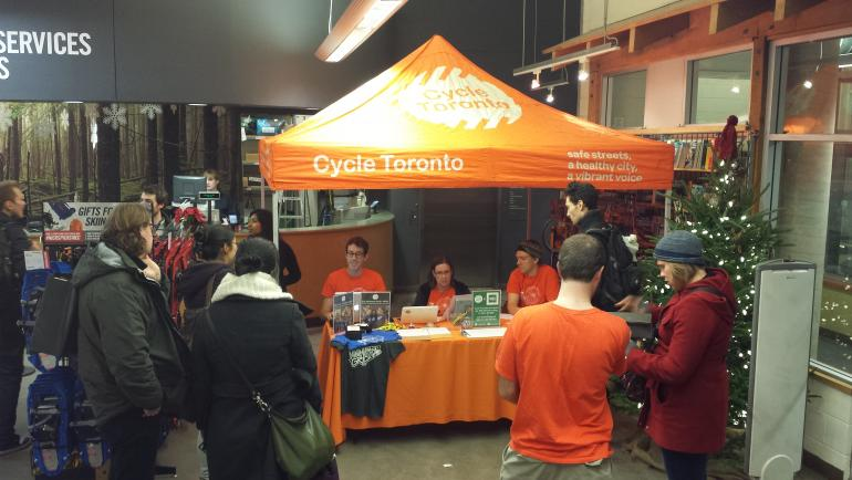 Cycle Toronto selling memberships at Mountain Equipment C-op