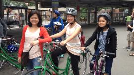A Bike Host family at the Toronto Island ferry doc, summer 2014