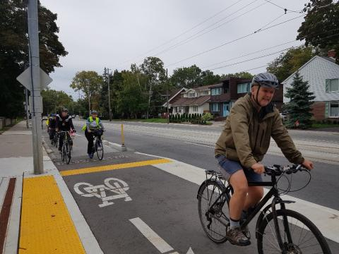 Riding along the new Lakeshore bidirectional cycle track