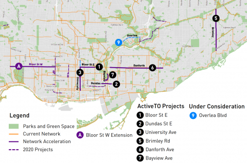 ActiveTO map zoomed in to Overlea project