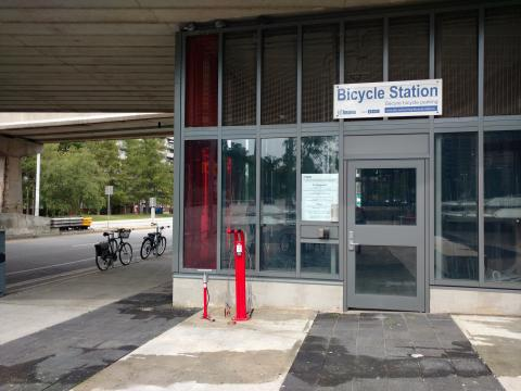 Bicycle station at Victoria Park Station