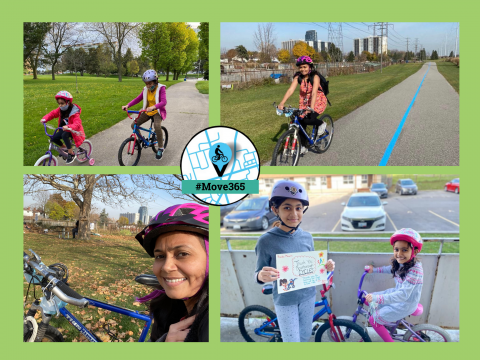 Pictures of a woman and her children cycling