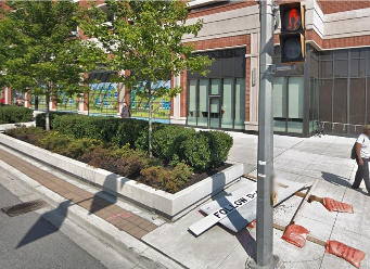 Existing Toronto streetscape with in-ground planter