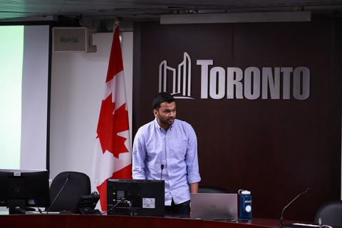 Kevin Rupasinghe presenting at the Cycle Toronto Advocacy Forum