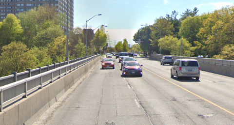 Existing condition of Overlea Boulevard between Thorncliffe Park and Flemingdon Park with no ActiveTO temporary bike lane. Image courtesy of Google Maps