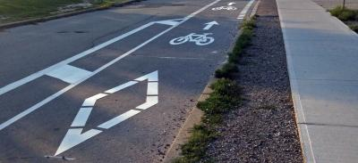 new bikes lanes on Grenoble Drive in Flemingdon Park