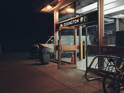 Ossington Station with a bike rack and bicycle in front