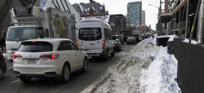 bloor bike lane covered in snow
