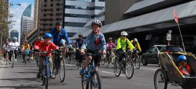 families enjoying the 2018 ride for safe streets