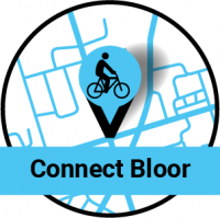Map pin with a bike on it. Connect Bloor
