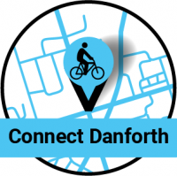 Map pin with a bike on it. Connect Danforth