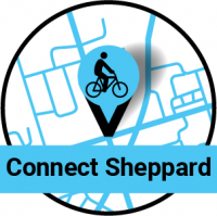 Map pin with a bike on it. Connect Sheppard