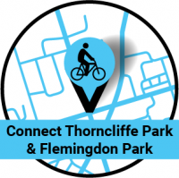 Map pin with a bike on it. Connect Thorcliffe Park and Flemingdon Park