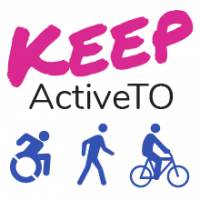 Keep ActiveTO logo. Underneath the text are three icons: a person using a wheelchair, a person walking, and a person riding a bicycle.