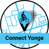 Map pin with a bike on it. Connect Yonge
