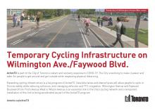 Thumbnail of first page of ActiveTO brochure for bike lanes on Wilmington Ave and sharrows on Faywood Ave