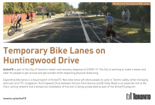 Thumbnail of first page of ActiveTO brochure for bike lanes on Huntingwood Dr