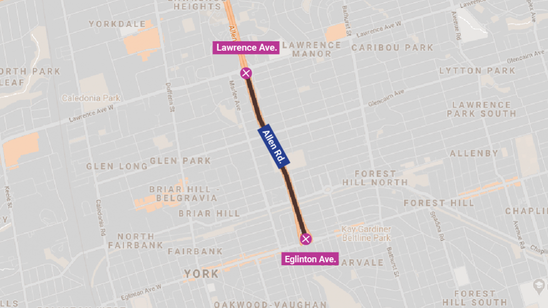 Map showing Allen Road closed from Eglinton to Lawrence Avenues