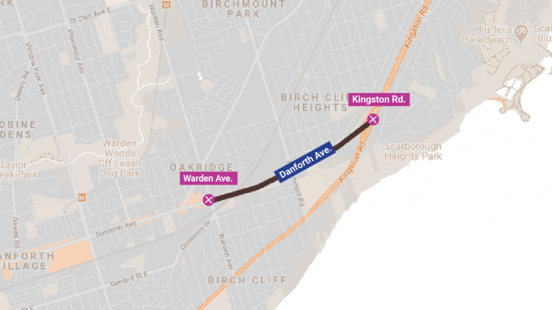 Map showing Danforth Avenue closed from Warden Avenue to Kingston Road