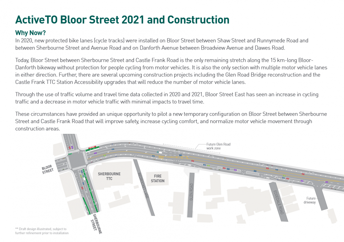 Map showing design for Bloor E with protected bike lanes