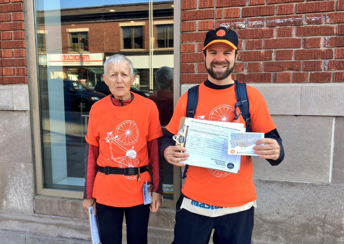#BuildTheGrid outreach team collecting pledges along the Danforth