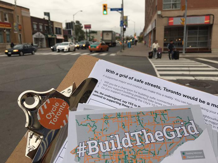 Collecting Build the Grid pledges at Woodbine Danforth