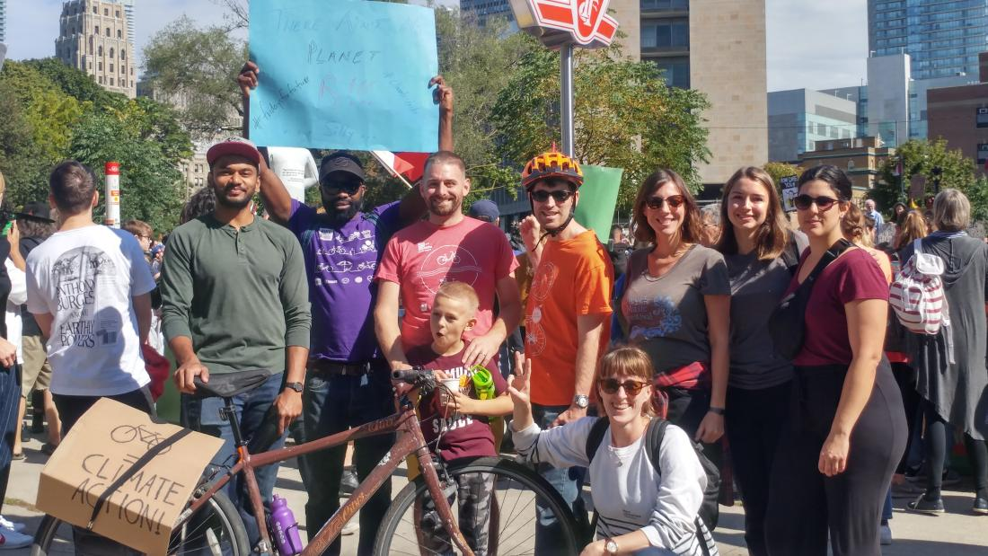 Cycle Toronto staff and board members pose at Climate Strike