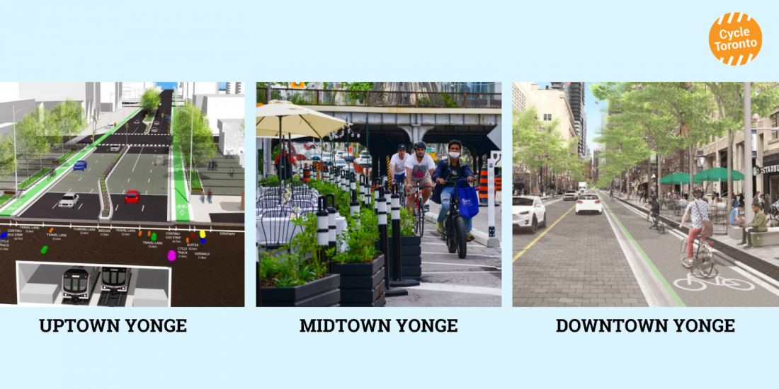 """Two renderings of streets with bike lanes, """"Uptown Yonge"""" and """"Downtown Yonge"""". Picture of a person riding by a patio in a bike lane """"Midtown Yonge."""""""