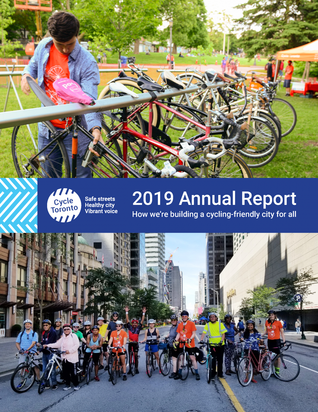 Cycle Toronto 2019 Annual Report cover page. Bikes being parked on top. Bike riders celebrating on bottom.