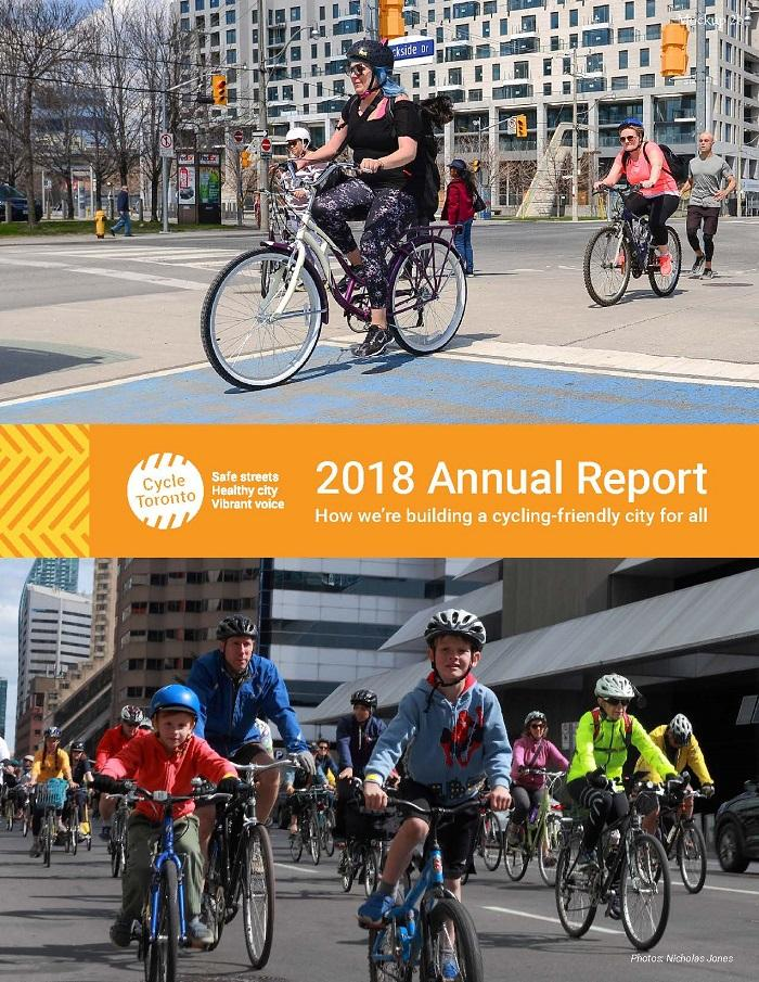 Cycle Toronto Annual Report cover page showing woman riding on the waterfront and the Ride for Safe Streets