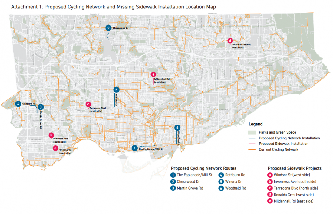 Map of Toronto showing proposed cycling and sidewalk projects